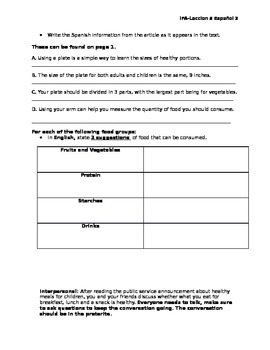 Spanish Integrated Proficiency Assessment- Food