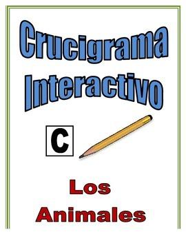 Spanish Animal Interactive Crossword Puzzle, Speaking Activity