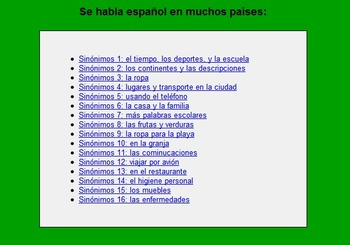 Spanish Interactive Exercises -- Spanish Synonyms Level 1