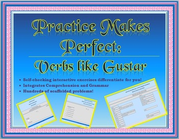 Spanish Interactive Exercises -- Verbs Like Gustar -- 100s of problems
