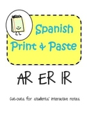 Spanish Interactive Notebook AR - ER - IR Verbs...hablar comer vivir