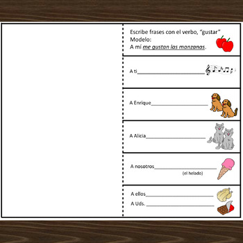 Spanish Gustar Interactive Notebook Activities