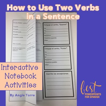 Spanish Interactive Notebook Activity for How to Use Two V
