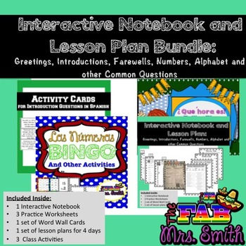 Spanish: Interactive Notebook Bundle: Greeting, Intros, ABC, #s, Time