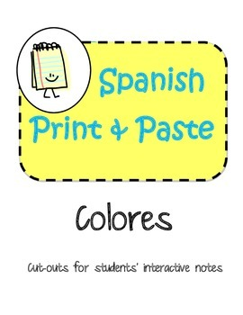 Spanish Interactive Notebook Colors Colores