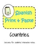 Spanish Interactive Notebook Spanish Speaking Countries