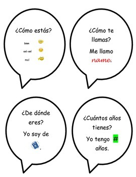 Spanish Interactive Notebook Questions for Creating Dialogues