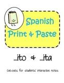 Spanish Interactive Notebook Diminutive Suffix ito & ita