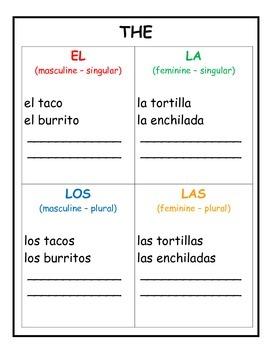 Spanish Interactive Notebook El La Los Las - The 4 Ways