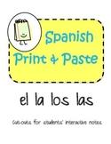 DIGITAL & PRINT Spanish Interactive Notebook El La Los Las