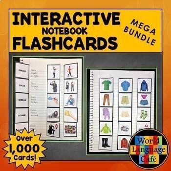 Spanish Interactive Notebook Flashcards Mega Bundle, Verbs and Vocabulary