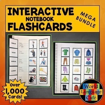 Spanish Interactive Notebook Flashcards Mega Bundle, Verbs, Vocabulary