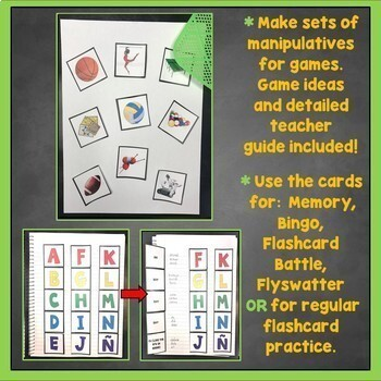 Spanish Interactive Notebook Flashcards Bundle, Verbs, Vocab, Distance Learning