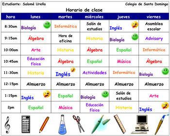 Spanish Interactive Notebook Interrogatives (school class schedule)
