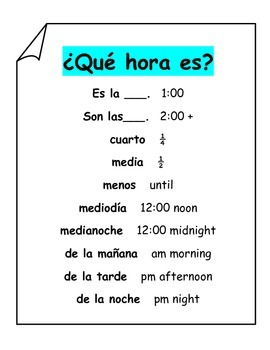Spanish Interactive Notebook Las Horas Time Que hora es?