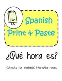Spanish Interactive Notebook Las Horas Time Que hora es?