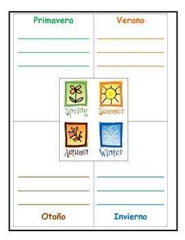 Spanish Interactive Notebook Months Seasons