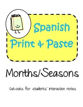 Spanish Interactive Notebook Months Seasons