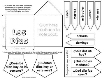 Spanish Interactive Notebook Numbers, Days, and Months