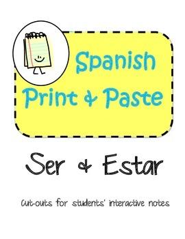 Spanish Interactive Notebook Ser Estar - Ser vs Estar