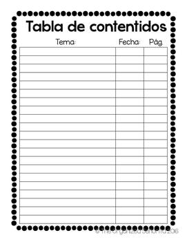 Spanish Interactive Notebook Table of Contents - Tabla de contenidos