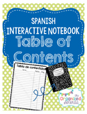 Spanish Interactive Notebook Table of Contents - Tabla de