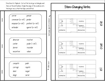 Spanish Interactive Notebook Verbs Flapbook (Stem-Changing Boot Verbs)