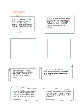 Spanish Interactive Notebook explanation sheet