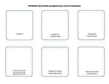 Spanish Interactive Reading Graphic Organizer Spanish 1, 2