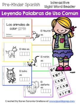 "Spanish Interactive Sight Word Reader ""Animales de color GRIS"""