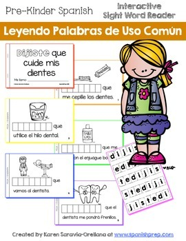 """Spanish Interactive Sight Word Reader """"DIJISTE que cuide m"""