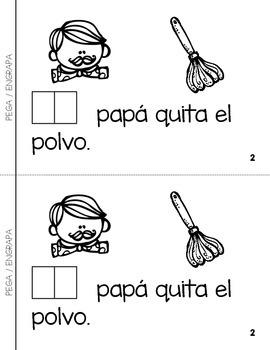 """Spanish Interactive Sight Word Reader """"EL papá trabaja en casa"""""""