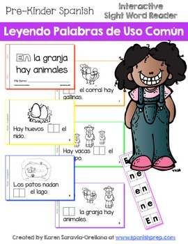 """Spanish Interactive Sight Word Reader """"EN la granja hay animales"""""""