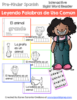 "Spanish Interactive Sight Word Reader ""El animal GRANDE"""