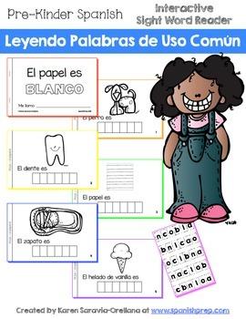 """Spanish Interactive Sight Word Reader """"El papel es BLANCO"""""""