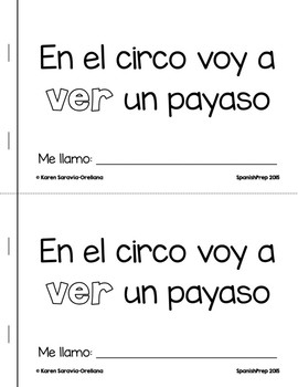 "Spanish Interactive Sight Word Reader ""En el circo voy a VER un payaso"""