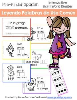 "Spanish Interactive Sight Word Reader ""En la granja VEO animales"""