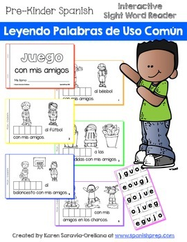 "Spanish Interactive Sight Word Reader ""JUEGO con mis amigos"""