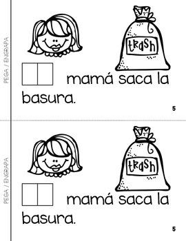 "Spanish Interactive Sight Word Reader ""LA mamá trabaja en casa"""