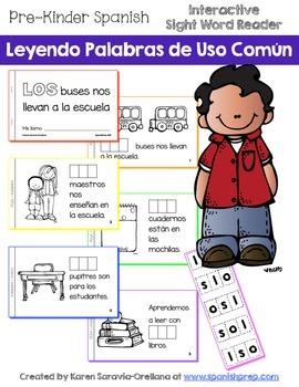 "Spanish Interactive Sight Word Reader ""LOS buses nos lleva"