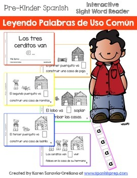 """Spanish Interactive Sight Word Reader """"Los tres cerditos van A ..."""""""