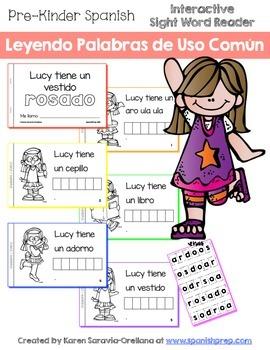 "Spanish Interactive Sight Word Reader ""Lucy tiene un vesti"
