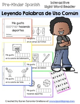 "Spanish Interactive Sight Word Reader ""Me gusta CORRER hac"