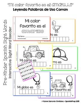 """Spanish Interactive Sight Word Reader """"Mi color favorito es el AMARILLO"""""""