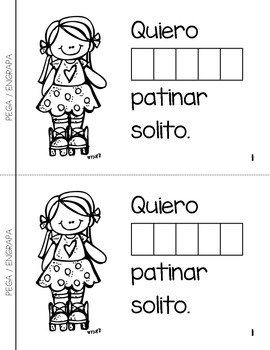 "Spanish Interactive Sight Word Reader ""Quiero PODER patinar solito"""