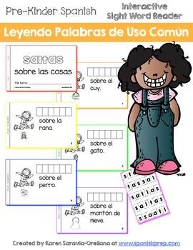 """Spanish Interactive Sight Word Reader """"SALTAS sobre las cosas"""""""