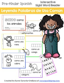 "Spanish Interactive Sight Word Reader ""SALTO como los animales"""