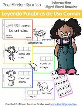 """Spanish Interactive Sight Word Reader """"SALTO como los animales"""""""