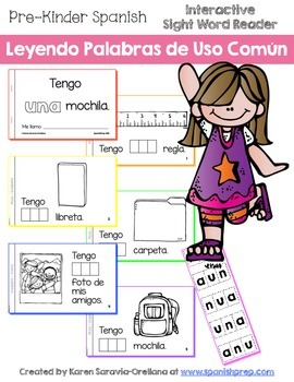 "Spanish Interactive Sight Word Reader ""Tengo UNA mochila"""