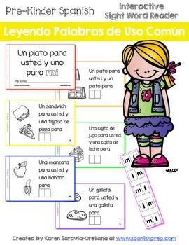 """Spanish Interactive Sight Word Reader """"Un plato para usted y uno para MÍ"""""""